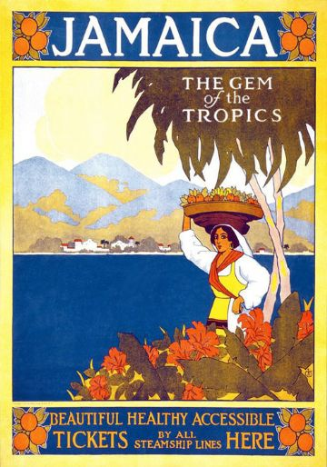 Vintage Travel Poster Jamaica Gem of the Tropics